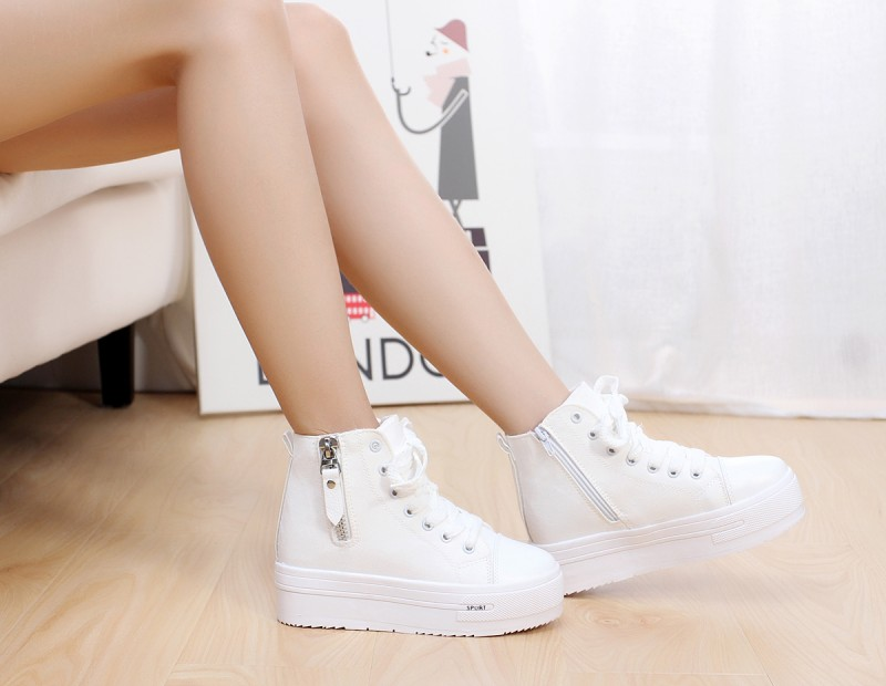 2013 Fashion Womens High Heeled Platform Sneakers Canvas Elevators Jean Top Creepers Casual Shoes - LOVE YC Store store