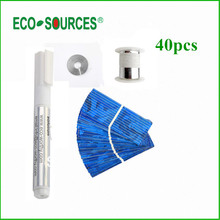 ECO-SOURCES Hot *40pcs Polycrystalline Solar Cell + Tabbing Wire + Bus Wire +Flux Pen 52x19mm Cells Free Shipping