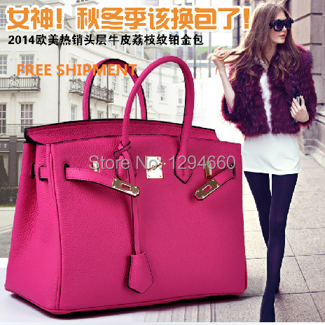 35cm 40 cm high quality genuine cowhide leather H bags Luxury Europe style inspired design hermet tn women handbag Free shipment(China (Mainland))