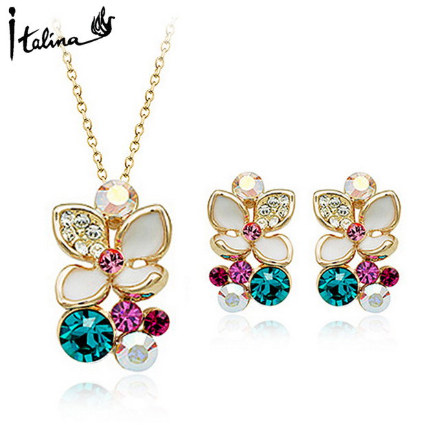 Italina Rigant Valentine's Day Gift Elegant Flower Rose Gold Plated Jewelry Set  With Austrian Crystal Stellux #RG20405