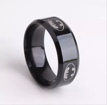 2015 Boys Men Black Batman Symbol Titanium Stainless Steel Rings For Men Women Party Free shipping(China (Mainland))