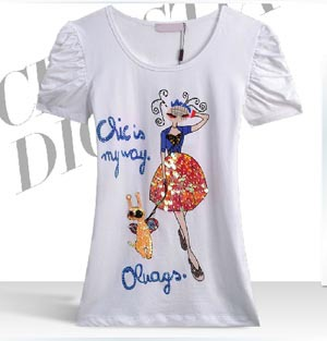 Cartoon Girl Dog Diamond Paillette O-neck Cotton Plus Size Brand Summer Spring New 2014 Fashion T Shirt Women - Top NO.1 store