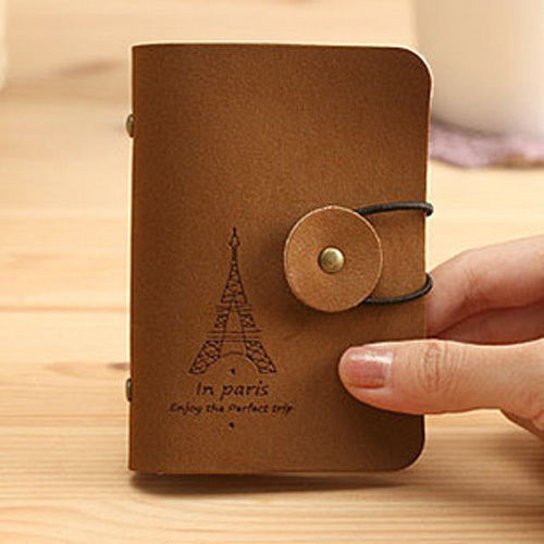 Paris Suede leather Name ID Credit Card Cards Case Holder Wallet Pocket Cardcase(China (Mainland))
