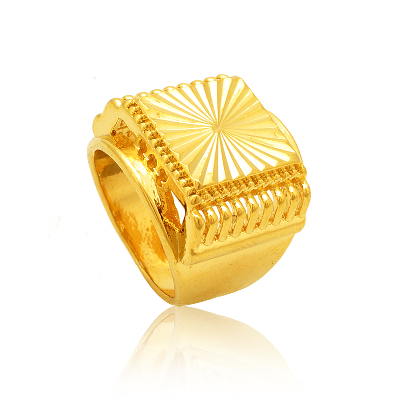 New 2015 Hot Sale Gold Men 24k Gold Plated Trendy Wedding Engagement Ring for Men(China (Mainland))