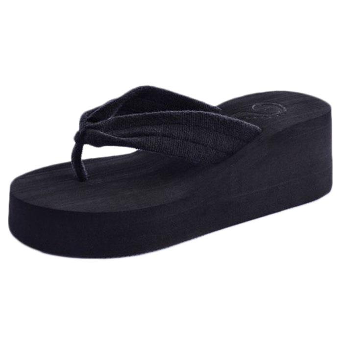 Hot Sale Women Toweling Sandal Platform Wedges Flip Flops Home Slippers Shoes wholesale Mo04