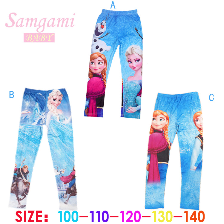 2015 New Fashion Anna Elsa Girls Pants Children kids leggings Cotton Warm long Trousers cartoon girls clothes baby girl clothing