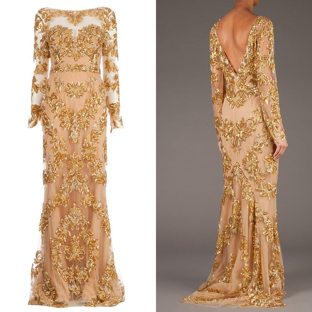 Hot ! New Real Picture Zuhair Murad Long Sleeve Backless Long Prom Gowns Gold Appliques Illusion Dress Formal Evening Dresses(China (Mainland))