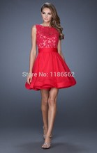 Cheap 2016 Homecoming Dresses A-line Scoop Short Mini Red Royal Blue Chiffon Appliques Lace Open Back Cocktail Dresses