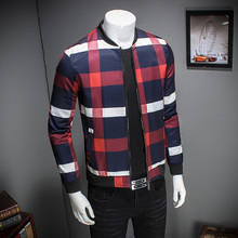 Buy Top M-5XL 2017 New Business Style Spring Plaid Jacket Men Slim Fit Mens Jackets Coats Casual Bomber Jacket Men J921 for $31.01 in AliExpress store