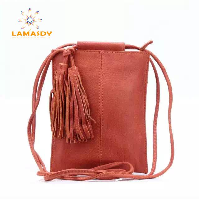 2016 new top fashion high quality 100% genuine leather women messenger bag real skin orange Fringe beach bag of tassel(China (Mainland))