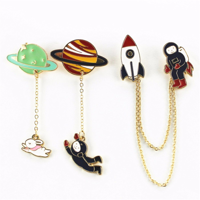 Fashion new style three style astronauts/earth/rabbit girl enamel animal planet brooches women badges clothes pins wholesale