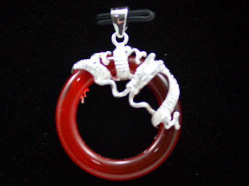 wholesale silver plated Stunning Red Jade Dragon Pendant Necklace(China (Mainland))
