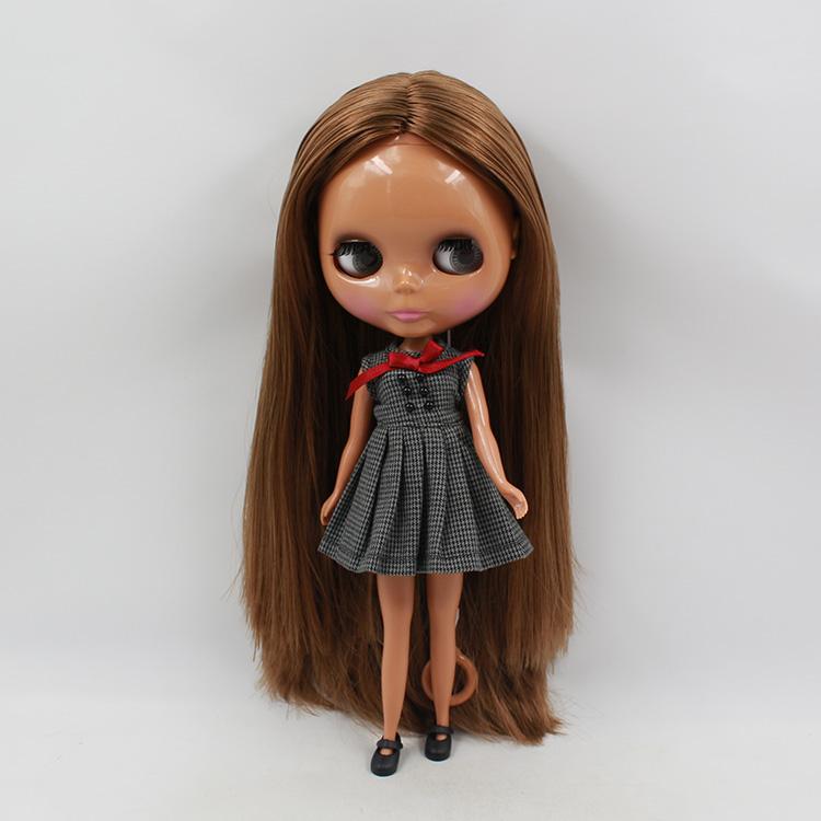 11.5 fashion dolls black skin Nude Blyth doll dark brown hair baby big eyes doll suits modified mini dolls for girls 2015<br><br>Aliexpress