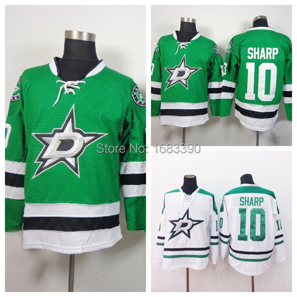 2015 Patrick Sharp Jersey Authentic Dallas Stars Jersey Sharp hockey jerseys cheap 10 Wholesale White Green Stitched(China (Mainland))