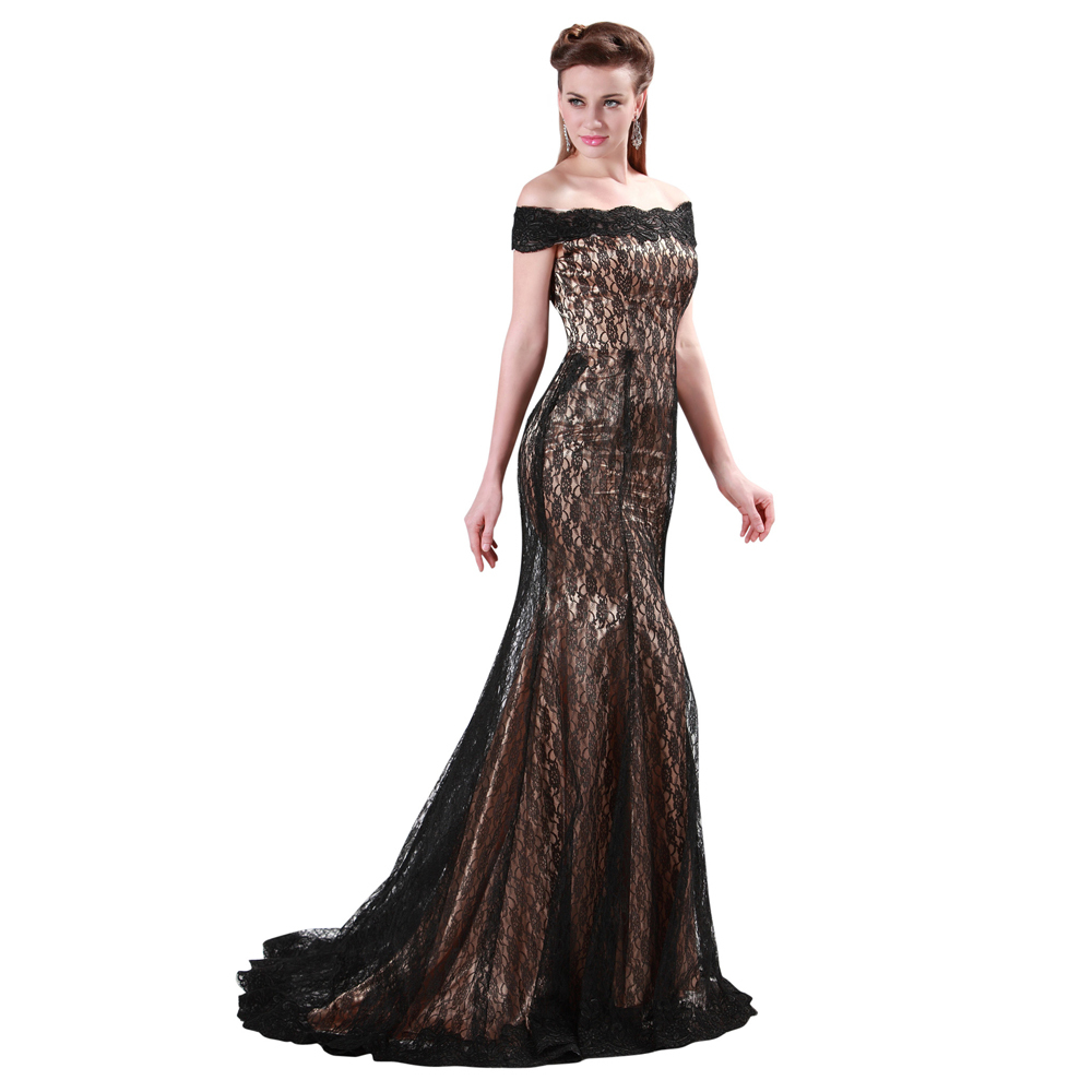 GraceKarin Women Winter Floor length Boat Neck Black Lace Mermaid Evening dress Long Prom Gowns Mother of the Bride Dresses 4471(China (Mainland))