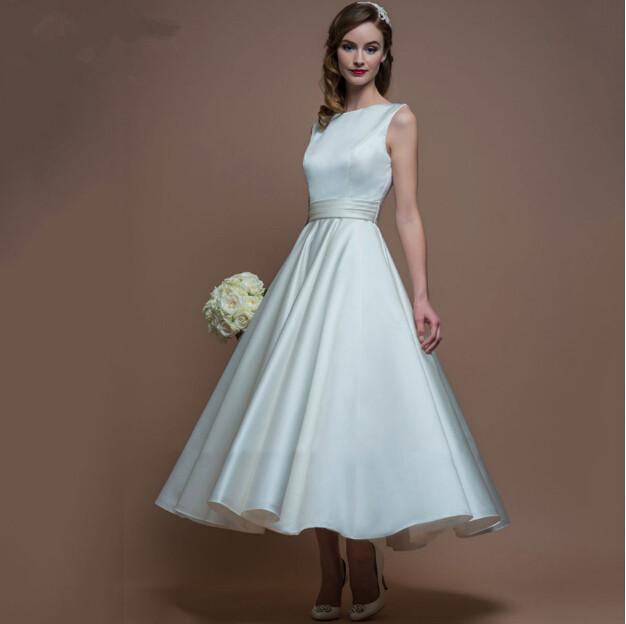 2016 simple a line tea length wedding dresses backless for Simple corset wedding dresses