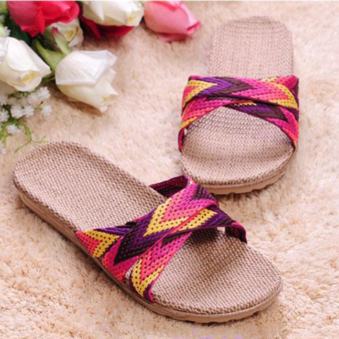 2015 new brand couples Flax slippers home indoor antiskid men and women slippers natural flax bottom cool summer slippers(China (Mainland))