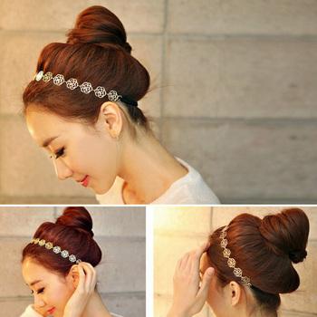 1 x Girls Womens Fashion Metal Chain Jewelry Hollow Rose Flower Elastic Hair Band Headband