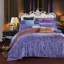 purple silk bedcover queen king size duvet cover bed sheets pillowcase 4pcs bedding set,chinese bedclothes(China (Mainland))
