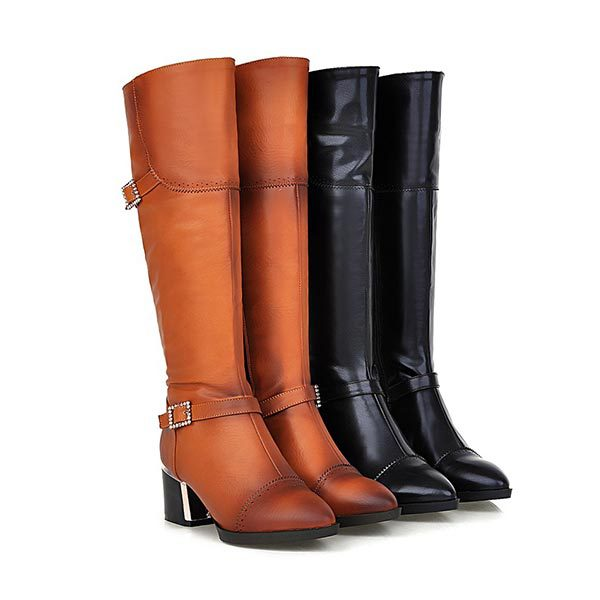 2014 Autumn New Design Women Top Quality Pointed Toe Vintage leather Knee High Black High heels Boots Riding long boots<br><br>Aliexpress