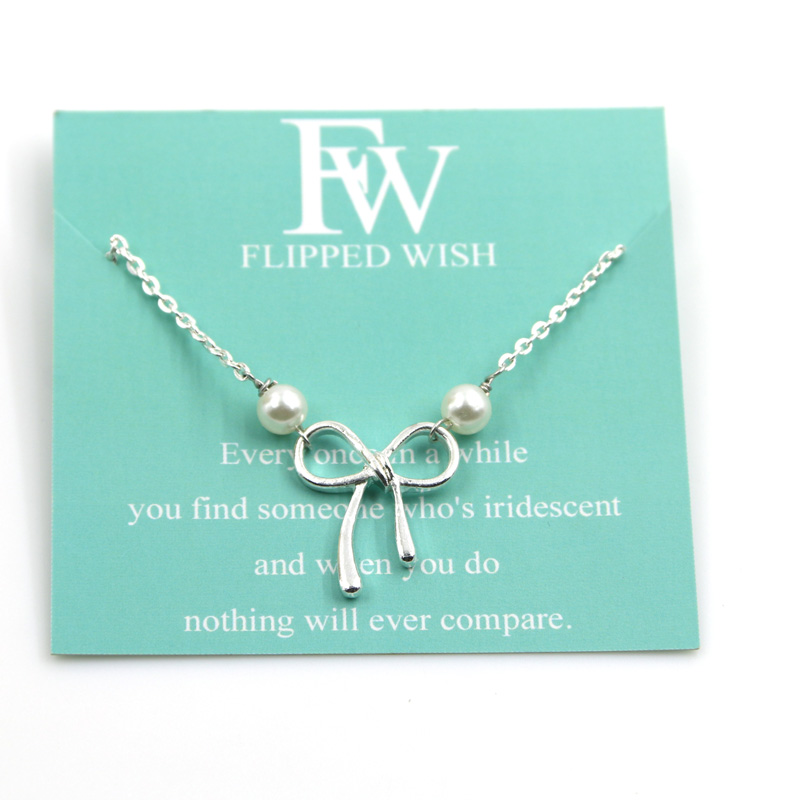 Flipped Wish Simulated Pearls Silver Plated Bowknot Pendant & Necklace Female Adjustable Unique Simple Necklace Jewelry 25cm(China (Mainland))