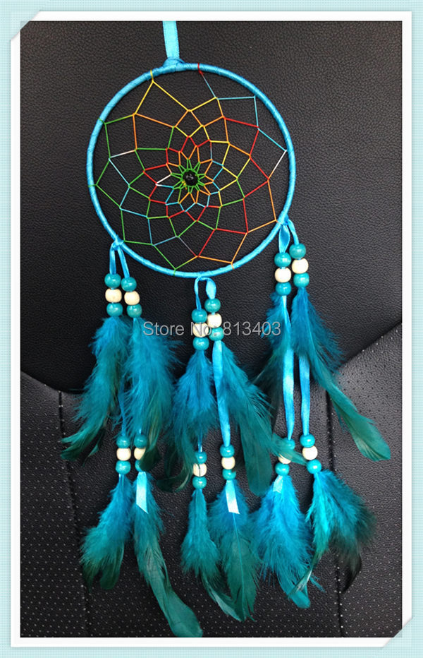 Christmas Gfit Tree Decoration Indian Style Feather Decor Blue Wedding Gift and Wedding Decorations Dream Catcher Best Wish(China (Mainland))