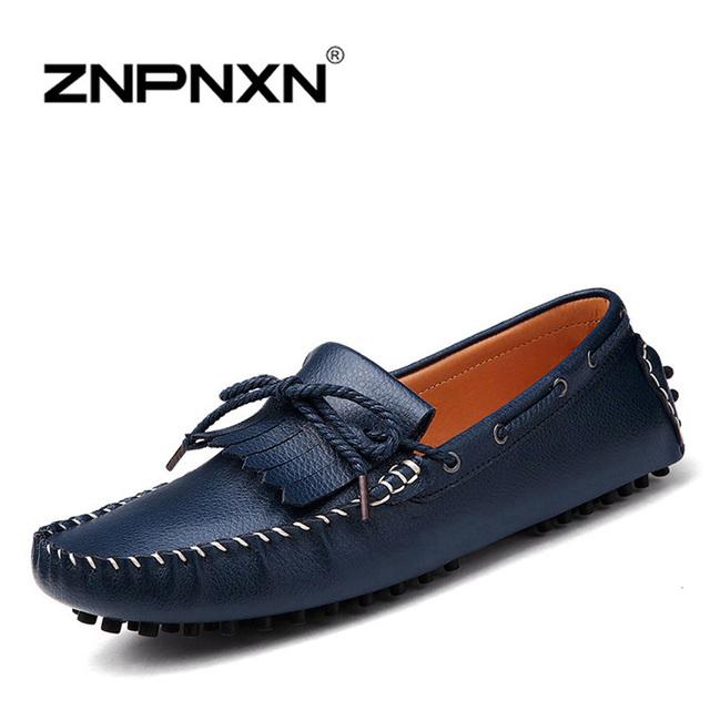 Znpnxn мужчины квартиры мода кисточкой бездельников мужчины кожаные ботинки zapatillas ...