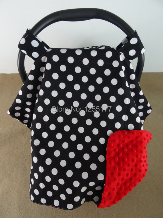 New arrival! car seat canopy infant car seat canopy cover boys/girls collection white polka dot and red dot minky+free shipping(China (Mainland))