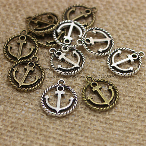 PULCHRITUDE 60pcs 15*18mm Round Nautical Anchor Charms Jewelry Pendant Antique Metal Trendy Jewelry Fit DIY Jewelry Making T0349