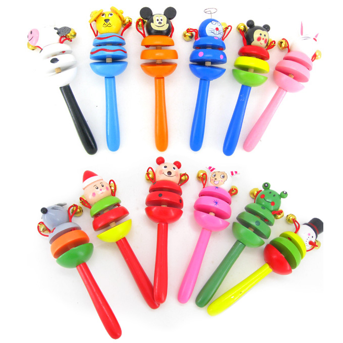 2015 latest cartoon wooden baby rattle the baby toys(China (Mainland))