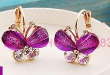 Free shipping! Fashion Amethyst Butterfly dangle 18k Gold plated drop earrings wholesale(China (Mainland))