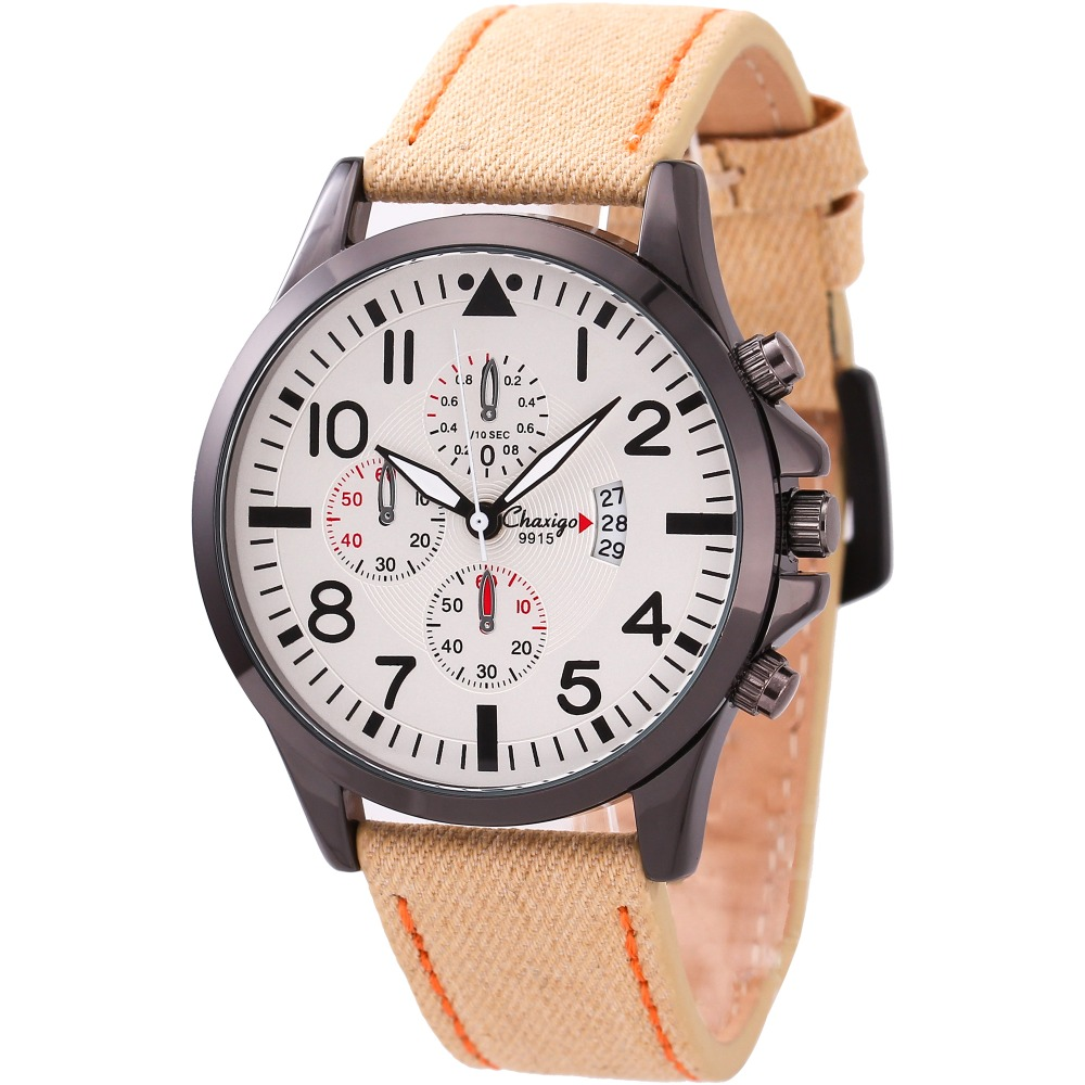 Chaxigo Brand Quartz Watch Fashion Sports & Outdoors Relogio Masculino Cheap Watches Canvas PU leather Clock Online Shopping(China (Mainland))