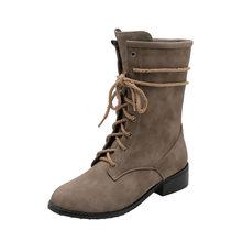 MoonMeek lớn size 34-46 thời trang mắt cá chân Giày cho Nữ Giày mũi tròn Thu Đông Giày chéo buộc Med gót giày Nữ Giày(China)