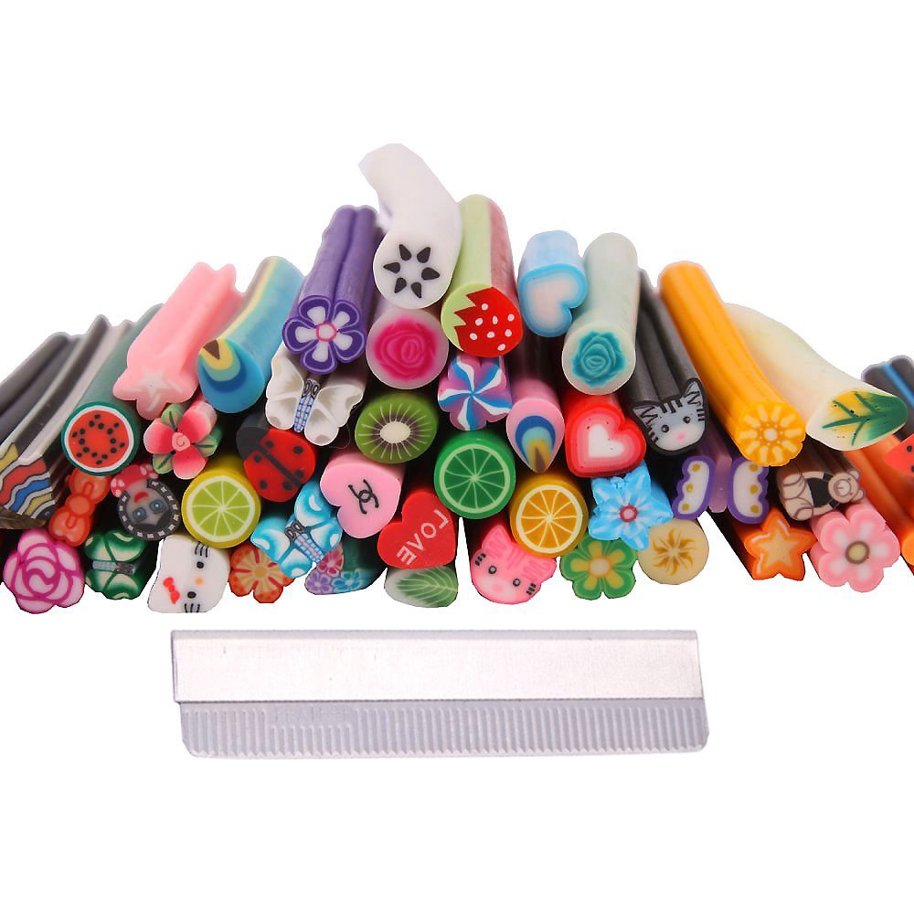 2015 Gift 50 Pcs Cute Designs Nail Art Fimo Canes Sticks Stickers Rods Gel Tips Decoration(China (Mainland))