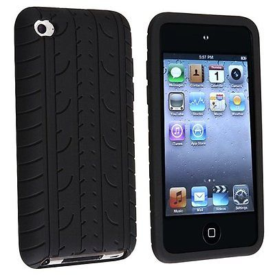 Black Tyre Skin Case For Apple iPod Touch 4th Gen 4G iTouch Silicone Cover(China (Mainland))