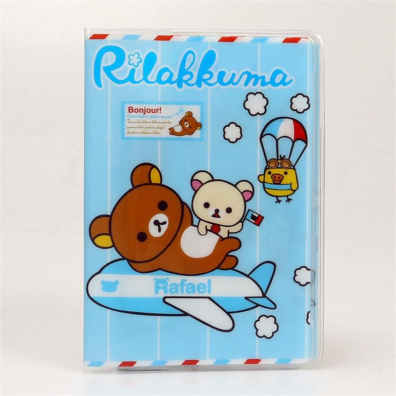 2D Thin Rilakkuma Passport Holder,PVC Leather Travel Passport Cover Credit Card ID Card Holder Size:10*14CM(China (Mainland))