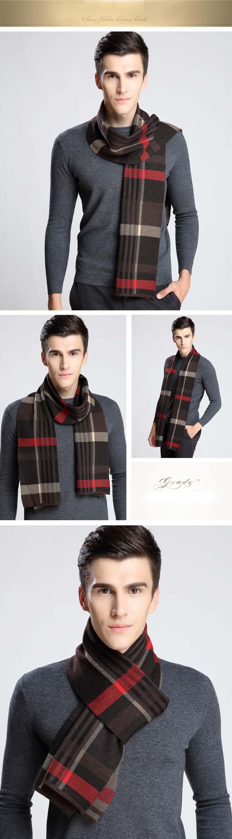 Scarf Men keep Warm plaid Scarf British Style Easy-Business Casual Winter Scarf Wool Blend Knitting Plaid Scarf