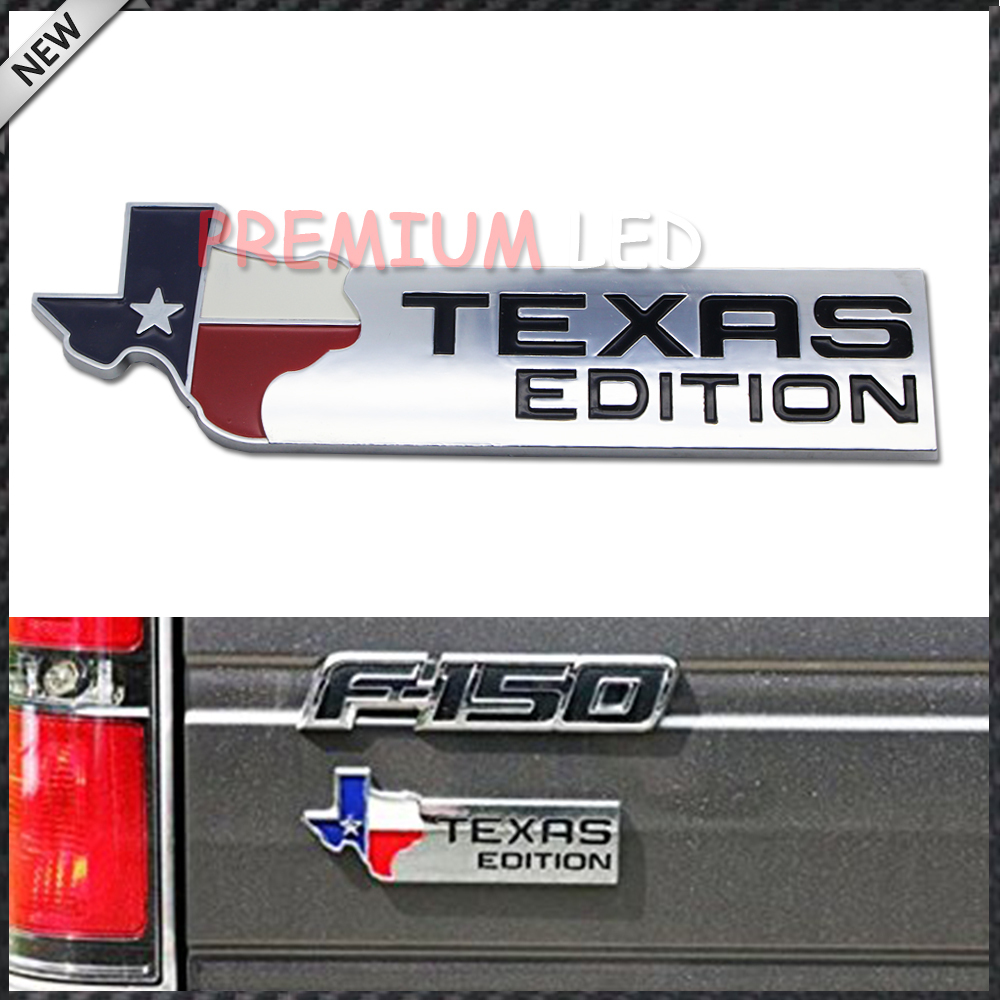 (1) Chrome Finish 3D Texas Edition Emblem Badges For Ford F-150 F-250 F-350 (Also Universal For Chevy GMC Dodge Trucks)(China (Mainland))