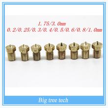 10Pcs 3D printer E3D V6&V5 J-Head brass nozzle extruder nozzles 0.2/0.25/0.3/0.4/0.5/0.6/0.8/1.0 mm For 1.75/3.0mm supplies