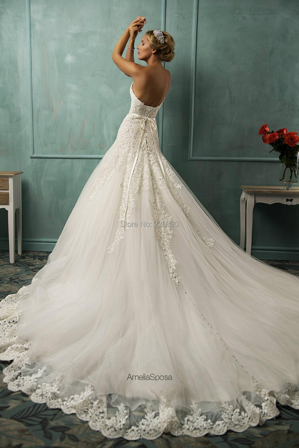 Wedding Gown Lace Up Back : Wedding dress sweetheart sashes princess lace appliuques up back