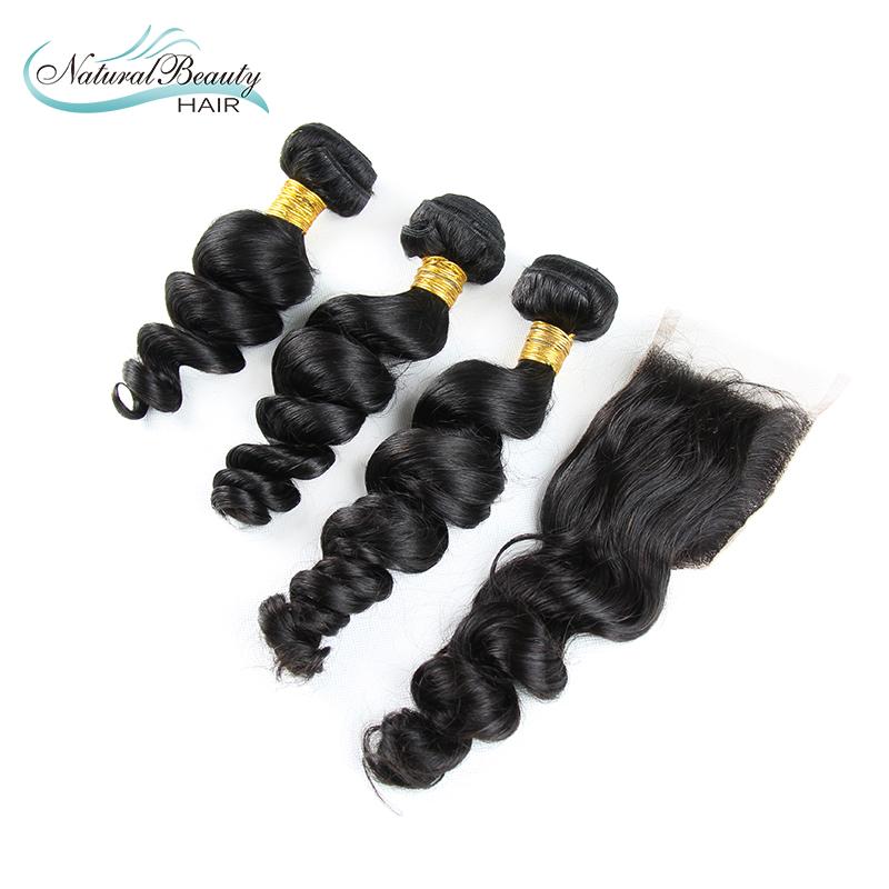 Здесь можно купить  6A Peruvian loose wave virgin hair 3 bundles with lace closure large stock hair products unprocessed human hair with closure  Волосы и аксессуары