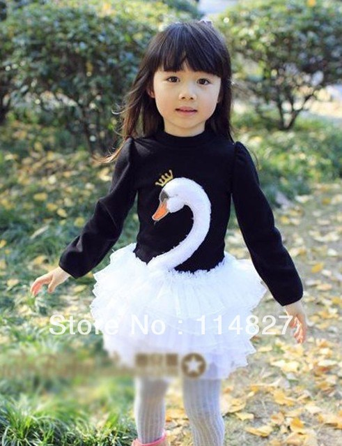 Hot designs,New  baby girl's long-sleeved swan dresses kid's dress,4pcs/lot,