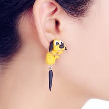 2016 New Design Fashion Cartoon Yellow Dog Stud Earring 100% Handmade Polymer Clay 3d Animal Earrings For Women Free Shipping(China (Mainland))