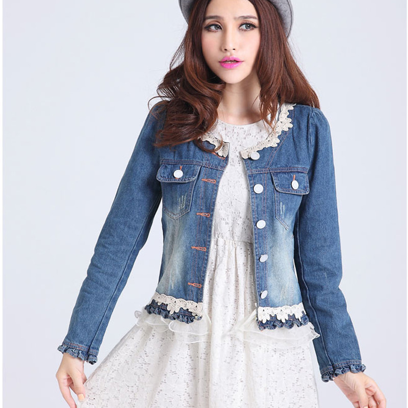 spring 2016 short jean jacket lace denim coat ruffles veste femme manche cute longue women long. Black Bedroom Furniture Sets. Home Design Ideas