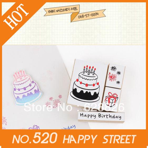 Christmas Gifts!Free Shipping!Cake fireworks stamp Box/4pcs/set DIY stamp Without ink pad,wooden box,Decorative DIY,Wholesale(China (Mainland))