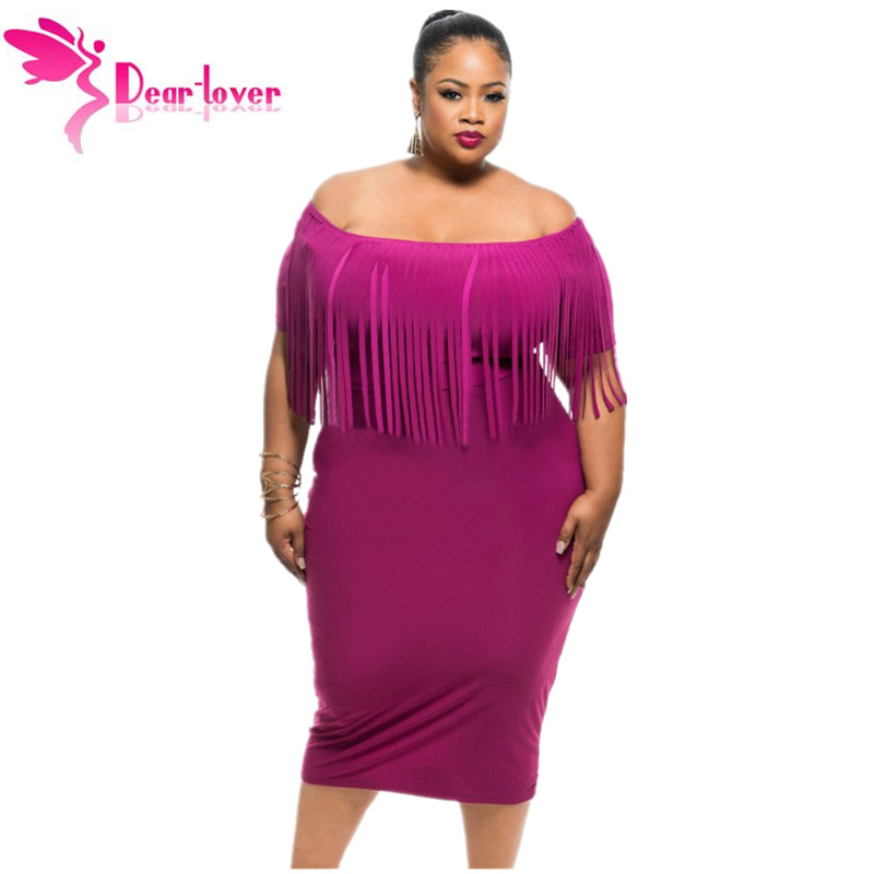 Dear Lover Vestido Robe Black/Rosy Short Sleeve Fringe Top Plus Size Dress Summer Big Women Clothing Large Size 2XL/3XL LC61055(China (Mainland))