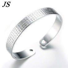 JS Charms Engraved Silver Bracelet Women Wide Open Cuff Bangle Hand Stamped Jewelry Love Heart Mother Gift Pulceras SB023(China (Mainland))