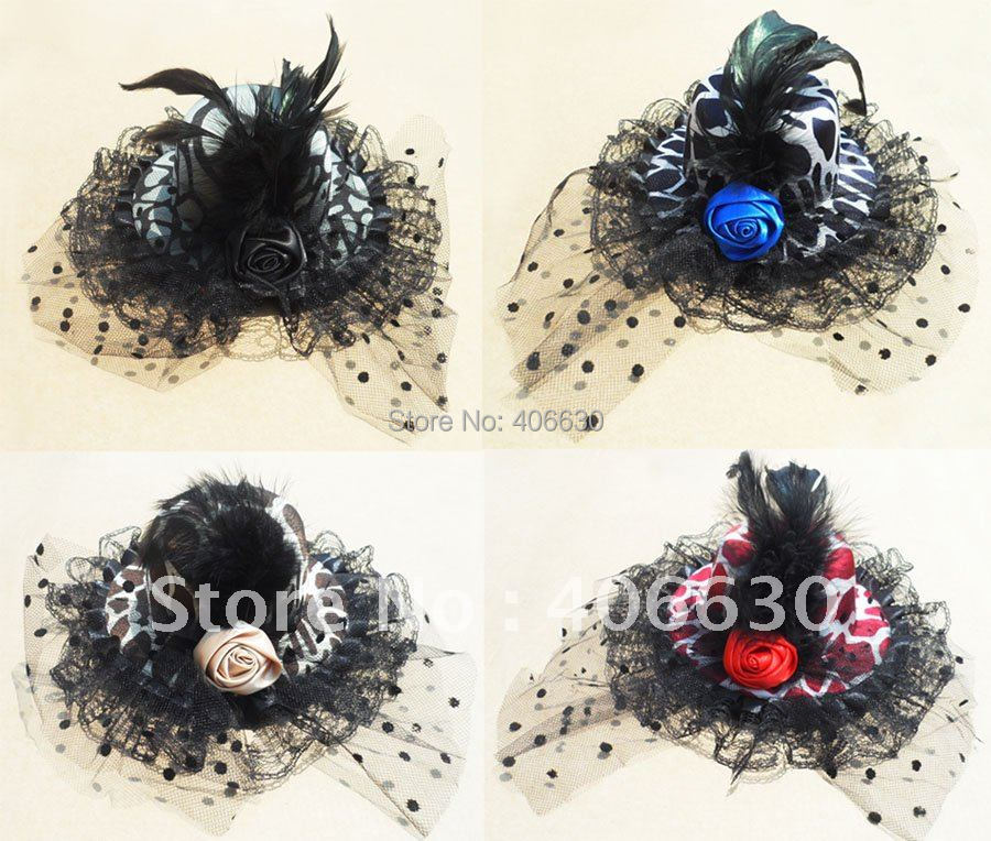 """Satin Mini Top Hat, 5"""" in diameter, Hairclip Fascinator w/ feather, 4 Colors, 12pcs/lot, Free Shipping by China post(China (Mainland))"""
