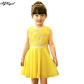 Retail New 2015 summer girls chiffon dresses children s clothing Sunflower baby girl dress princess tutu