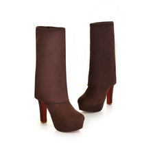 Women Suede Thigh High Boots Sexy Fashion Over the Knee Boots Platform Chunky Heels Plus Size Shoes Woman Black Brown Grey(China (Mainland))